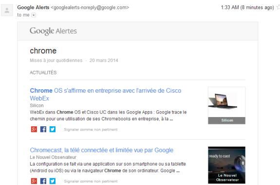 Google Alert theo dõi các thông tin
